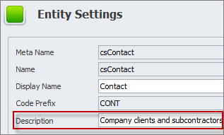 database entity settings description
