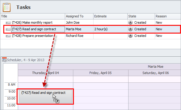 schedule tasks on scheduler panel