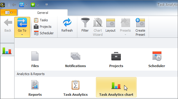 task analytics chart view