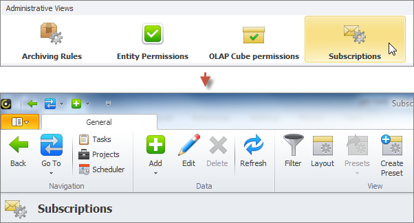 task notification subscriptions view