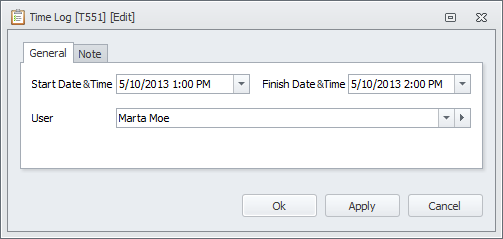 task time log detail view
