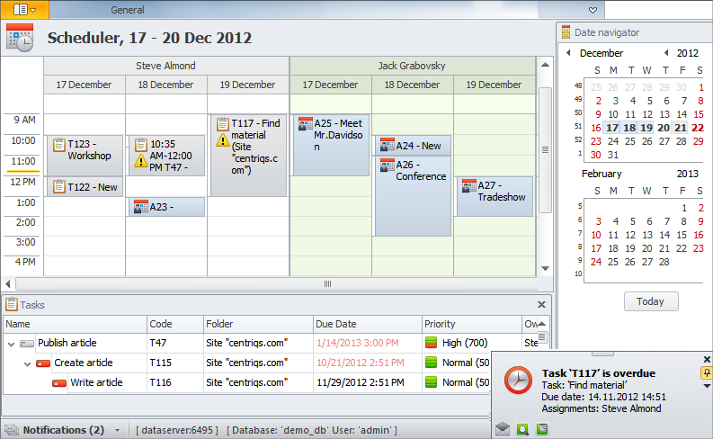 Tasks and Calendars on Single Scheduler