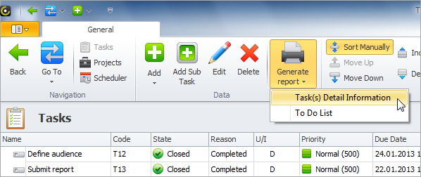 generate report in entity view