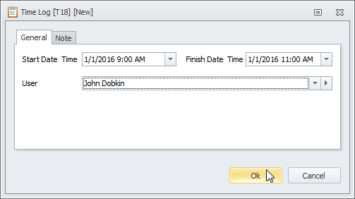 time log dialog box