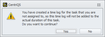 time log user is not assigned to task message